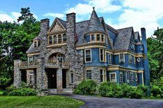 Victorian Architecture | Victorian Mansion House, Architecture, Blue, Bushes, Clouds, Colours ...