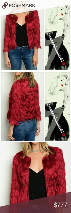 'RUBY'Dazzling red wine fringed jacket Coming soon 11/25 Will be $52 Make a statement in this goregous fringed shag jacket!! The stunning red wine color is perfect for the season! Grab this chic yet playful jacket your holiday parties or special occasion.  Touchable fringed shag, open front style. 92%polyester 8%spandex Brand new, boutique Jackets & Coats