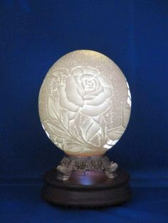 Ostrich egg with rose carving.  One of my favorites