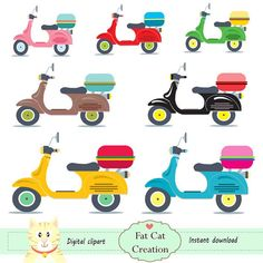Vespa motorcycle  collection  cliparts ,digital illustration , web graphic , instant download