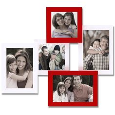 Adeco Decorative White/Red Wood Wall Hanging Collage Picture Photo Frame with 5 Openings (See description) (MDF)