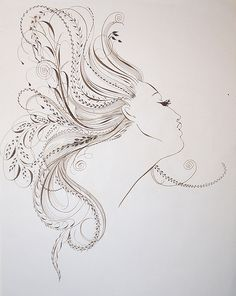 ✍ Sensual Calligraphy Scripts ✍  initials, typography styles and calligraphic art -  hair-flourishing by Barbara Calzolari, via Flickr
