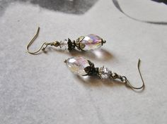 Victorian Crystal Earrings with Czech Oval by SmockandStone, $20.00