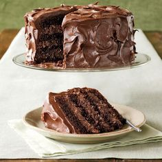 Rich Chocolate Layer Cake  Made from a mix, this cake is particularly moist and fudgy, thanks to two secret ingredients (mayonnaise and cocoa). Combine packaged coconut and nuts with creamy chocolate frosting to create the irresistible filling.