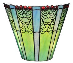 Emerald Fleurs 9-Light Wireless LED Stained Glass Wall Sconce