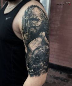 Amazing black and gray tattoo with wolf on shoulder in realism style Old Men With Tattoos, Viking Tattoos For Men, Viking Warrior Tattoos, Basic Tattoos, Great Tattoos, Body Art Tattoos, Tattoos For Guys, Sleeve Tattoos, Slavic Tattoo