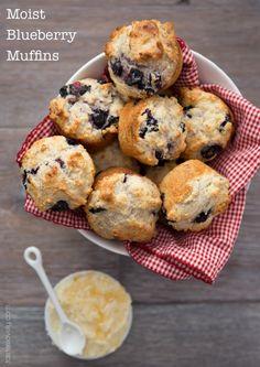 Ultra moist blueberry muffins made with greek yogurt