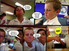 Students use Strip Designer app model appropriate conflict resolution: http://ictwithmissc.weebly.com/strip-designer-comics.html