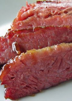 Glazed Corned Beef *boiled then baked* Baked Corn Beef Brisket Recipe, Corned Beef Glaze Recipe, Beef Brisket Oven, Corned Beef In Oven, Baked Corned Beef, Cooking Corned Beef, Beef Brisket Recipes, Meat Recipes, Beef Meals