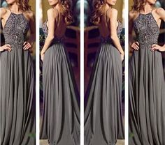 2014 Backless Gray Long Chiffon Bling Prom Dress/Prom Gown/Evening Dress/Evening Gown/Custom made dress/Formal Dress/Graduation Dress on Etsy, $169.99