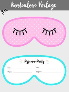 Pyjama Party Einladung: kreative Einladungskarten in PDF-Druckvorlagen und jpg - บล็อกของฉันของขวัญ Diy Invitation Fete, Slumber Party Invitations, Carton Invitation, Make Your Own Invitations, Diy Invitations, Pajama Party Kids, Pyjama Party, Sleepover Birthday Parties, Print Templates