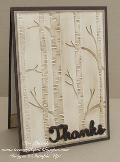 I've been playing with the Awesomely Artistic stamp set this last week. I had in my mind that the new Woodland Embossing Folder would make a lovely background for a card using this set. I also wanted