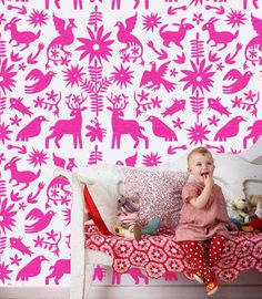 Mexican Otomi fabric textiles Allover Designer Pattern Stencil - matches my mexican pillow cases, could use for headboard or rug