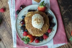 A pile of fluffy buttermilk pancakes topped generously with lotus biscoff spread, served up with vanilla icecream / whipped cream, lotus biscuit crumbles and lots of fresh berries. Lotus Biscoff Spread, Lotus Biscuits, Biscoff Biscuits, Buttermilk Pancakes Fluffy, Pancake Day, Egg Whisk, Mixed Berries, Salted Butter, Vanilla Ice Cream