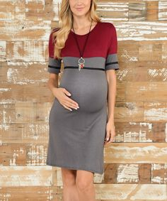 Another great find on #zulily! Celeste Red & Gray Shift Maternity Dress by Celeste Maternity #zulilyfinds