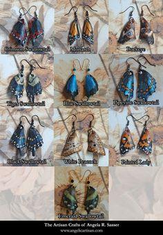 Cuir sculpté les boucles d'oreilles papillon par AngelicArtisan