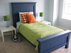Farmhouse bed from Ana White's plans, I love this styling