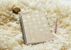 Gem Ideas Gold Foil Notebook by BihaDesigns on Etsy