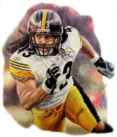 Troy Palomalu in color pencil by Matthew Glover Pittsburgh Steelers Wallpaper, Pittsburgh Steelers Football, Football Art, Football Helmets, Steelers Pics, Steelers Stuff, Troy Polamalu, Sports Art, Sports Decor