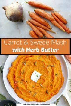 Herbed Carrot and Swede Mash - a beautiful and nutritious vegetarian side dish that's loaded with flavor from a lemon herb butter! It's easy enough for a weeknight dinner, but can also be part of your Christmas and Thanksgiving menus. Vegetarian Side Dishes, Vegetable Side Dishes, Vegetarian Recipes, Cooking Recipes, Herb Recipes, Carrot Recipes, Picnic Foods, Picnic Recipes, Picnic Ideas