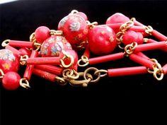 Red Venetian Millefiori Art Glass Bead 32 inch Vintage Gold Tone Estate Necklace | eBay