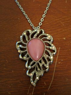 Upcycled Pink Tear Drop Pendant Necklace ($15)