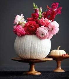 Flower Pumpkins on Chatelaine, halloween, halloween decor, pumpkin, flowers, pumpkin floral arrangement, painted pumpkin