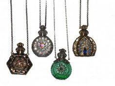 Antique perfume bottle necklaces from Czechoslovakia.