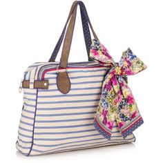 Accessorize Nautical Stripe Floral Scarf Bag ($56) ❤ liked on Polyvore