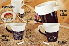 DIY Chalkboard Mug how to...great gift for birthdays, Christmas, Valentine's Day, Father's Mother's Grandparent's Day