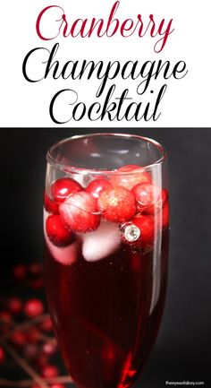 Cranberry Champagne Cocktail Recipe with raspberry liqueur that is the perfect champagne drink recipe for your New Year's Eve party