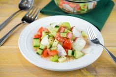 Tomato Cucumber Onion Salad | inspirationkitchen.com #salad #tomatoes #cucumbers #onions #healthy #recipe #lowfat