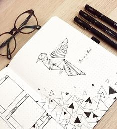 Bullet journal weekly layout, geometric drawing, geometric design, geometric bird drawing. | @flake.bujo