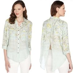 Free People Top Free People Shibori siren top in green with adjustable sleeves in lightweight cotton Free People Tops