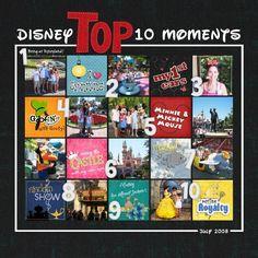 Top 10 Disney moments scrapbook layout