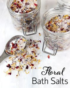 These DIY Floral Bath Salts are made with lavender essential oil, dried flowers and dead sea salt. Add them to your tub for a super relaxing experience!