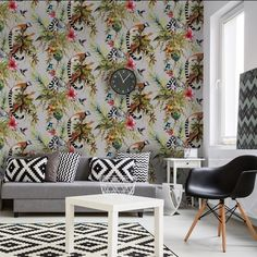 Lemur Silver Multi Wallpaper | Holden Wallpaper | Lancashire Wallpapers