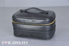 Authentic CHANEL Black Leather Diamond Stitches Vanity Cosmetic Bag A01618