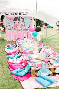 Garden Party Decorations Ideas Party In A Park Garden Picnic Kids Picnic Parties, Garden Parties, Garden Picnic, Garden Theme, Garden Party Decorations, Birthday Decorations, Birthday Ideas, Cherry Blossom Party, Japanese Birthday