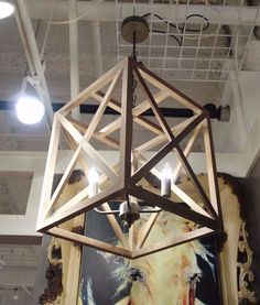 RESTORATION STYLE METAL AND NATURAL WOOD SQUARE 4 LT CHANDELIER