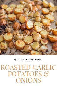 Dishes To Go, Side Dishes Easy, Garlic Roasted Potatoes, Potato Onion, Bulk Food, Easy Food To Make, Quick Recipes, Cooking Ideas, Onions
