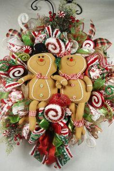 Gingerbread Burlap Mesh Wreath Gingerbread Boy and Gingerbread Girl Wreath Candy Wreath Front Door Wreath Gingerbread Burlap Mesh Wreath Gingerbread Boy and Gingerbread Girl Wreath Candy Wreath Front Door Wreath Source by trendytree Christmas Mesh Wreaths, Deco Mesh Wreaths, Christmas Balls, Christmas Crafts, Christmas Decorations, Christmas Ornaments, Ribbon Wreaths, Gingerbread Decorations, Christmas Clay