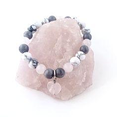 Rose Quartz, Gray Jade and Howlite Healing Crystal Bracelet with Rose Quartz Heart Charm Handmade by Soul Sisters Designs