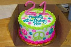 peace sign cake - birthday party