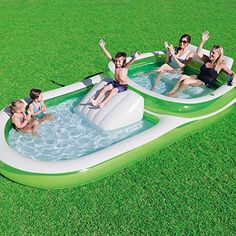 Bestway Two-In-One Wide Inflatable Family Outdoor Pool, Features Dual Pool and Slide Combo, Cup Holders, Easy Set Up, Includes Repair Patch