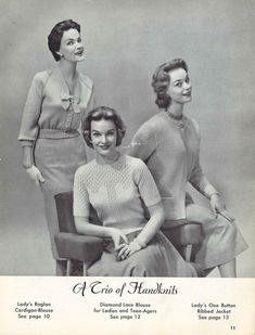 Top Trio 1950s Bow Lace Sweater Top Jacket Coat Patterns