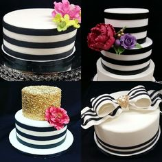 Kate Spade inspired Bridal Shower Cakes; Black and White Striped cakes