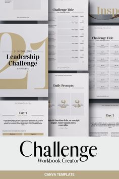 Challenge Workbook Creator Canva template to create a great addition to your training, Course, or Webinar. It can also be used to develop lead magnets / opt-in freebies for your online business. The template is fully editable and available in both US Letter (8.5x11 inches) and A4 (210x297 mm) page sizes. #canvatemplate #everythingelse #graphicdesign #ebooktemplate #canvaebook #ebook #workbooktemplate #ecourseworkbook #leadmagnet #optintemplate Travel Brochure Template, Brochure Design, Graphic Design Books, Book Design, Indesign Templates, Print Templates, Checklist Template, Instagram Story Template, Brand Identity Design