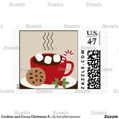 Cookies and Cocoa Christmas custom Postage Stamps.