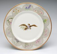 """State dinner service of Lyndon Baines Johnson (President 1963-1969)--Service Plate/Made in New Castle, Pennsylvania, United States, North and Central America c.1968--Designed by Van Day Truex, André Piette, and Claudia Taylor """"Lady Bird"""" Johnson, American, 1912 - 2007. Made by Castleton China, subsidiary of Shenango Pottery Company, New Castle, PA, active 1939 - 1976. Ordered from Tiffany & Company, New York, 1853 - present."""